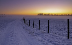 Картинка зима, дорога, пейзаж, закат, забор