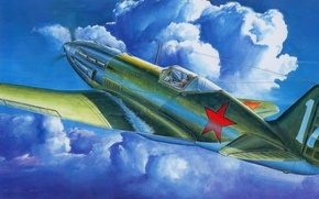 Картинка небо, облака, истребитель, МиГ-3, советский, высотный, MiG-3