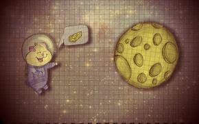 Картинка космос, планета, хомяк, сыр