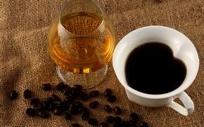 Обои бокал, кофе, зерна, чашка, белая, коньяк