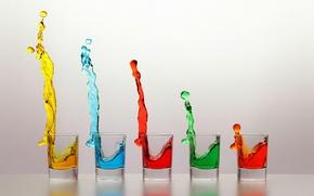 Картинка цвет, жидкость, стаканы