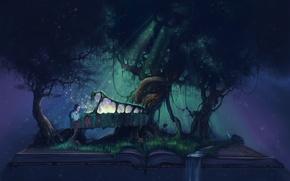 Картинка мечта, лучи, ночь, природа, музыка, ручей, фантазия, дерево, рояль, фэнтези, арт, мужчина, сатир