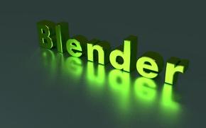Картинка зеленый, green, надпись, blender, блендер