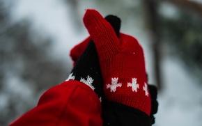 Картинка узор, черная, перчатки, красная