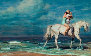 Картинка море, конь, арт, двое