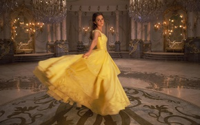 Обои cinema, film, Disney, fairy tale, Emma Watson, movie, dress, Beauty and The Beast, yellow