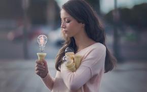 Картинка лампочка, девушка, фантазия, арт, сила мысли
