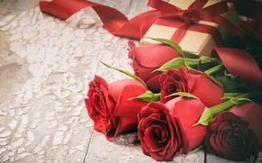 Картинка любовь, подарок, розы, love, heart, romantic, Valentine's Day