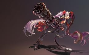 Картинка девушка, игра, аниме, пулемет, art, Blade & Soul, Blade and Soul, Po Hwa Ran, Pohwaran, …