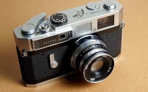Картинка фон, фотоаппарат, объектив, зум, затвор, Canon 7, диафрагма, кнопка спуск, Industar-61