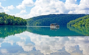 Картинка отражение, Хорватия, озеро, вода, облака, небо, теплоход, лес, Plitvice Lakes