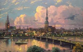 Картинка великий, старый, Даугава, площадь, шпиль Святого Петра, Sunset Over Riga, Европа, Домский собор, кафедральный, город, ...