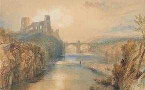 Картинка пейзаж, мост, река, картина, Уильям Тёрнер, Замок Барнард