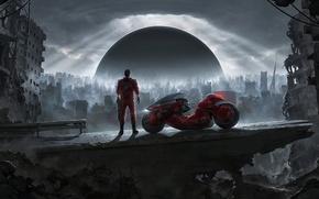 Картинка взрыв, тучи, будущее, фантастика, здания, мотоцикл, разруха, руины, байк, киберпанк, постапокалиптика, шаг, Акира, Akira, Kaneda's …