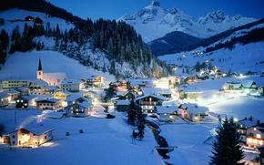 Картинка зима, ночь, Австрия, курорт, Austria