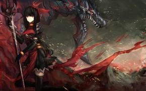 Картинка девушка, дракон, рисунок, монстр, меч, чулки, пасть