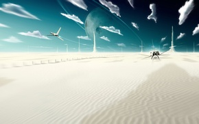 Картинка небо, облака, фантастика, пустыня, планета