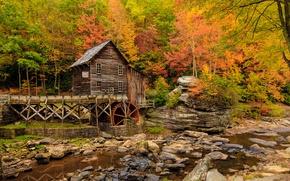 Картинка осень, США, Babcock State Park, водяная мельница, New River Gorge, округ Фейетт, штат Западная Виргиния