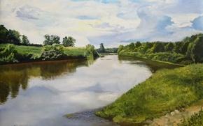 Картинка лес, небо, вода, пейзаж, природа, картина, живопись, холст, берега, Луценко, речная гладь