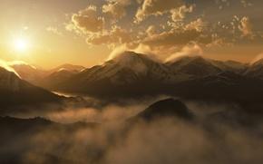 Картинка солнце, облака, горы, туман, восход, утро