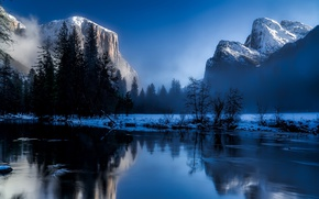 Обои США, лес, Yosemite National Park, скалы, рассвет, вода, Калифорния, деревья, туман, зима, снег, горы
