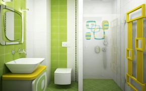 Обои комната, раковина, кафель, душ, ванная