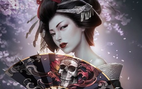 Картинка девушка, череп, сакура, веер, арт, прическа, гейша, кимоно, заколки, REBORN, Kagero