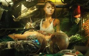 Обои техник, арт, киборг, cyberpunk, cyborg, art, girl, рисунок, интерфейс, девушка, asian, technician, OEM, техобслуживание, хирург, ...