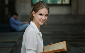 Картинка девушка, смех, книга, чтение, Dennis Drozhzhin, Most reading nation