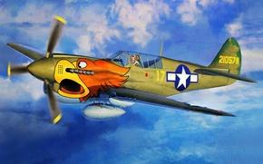 Картинка fighter, war, art, airplane, painting, P-40N Warhawk `The 502nd FS`