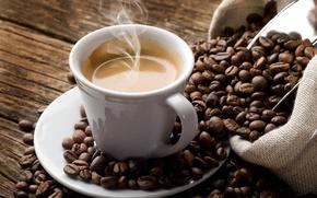 Картинка пена, кофе, зерна, пар, чашка, напиток, мешок, блюдце, эспрессо