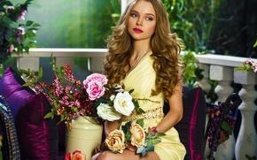 Картинка Paradise, Girl, Beautiful, Flowers, Spring, Studio, Woman, Christina, Portrait, Hair, Garden, Young, Person, Hairdress