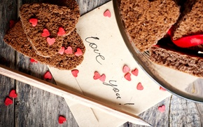 Картинка надпись, печенье, тарелка, сердечки, карандаш, выпечка, конверт, love you