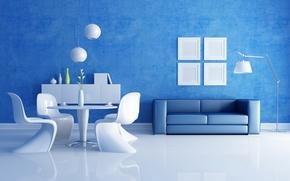 Обои синий, стол, комната, диван, стулья, интерьер, вазы