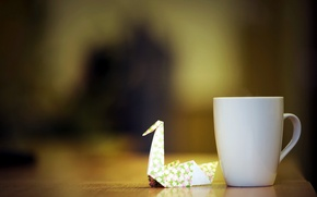 Картинка макро, чашка, журавлик
