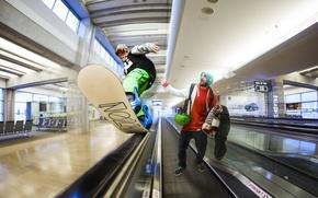 Картинка сноуборд, фотошоп, эскалатор, Израиль