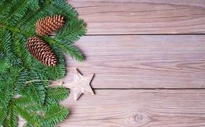Картинка украшения, дерево, елка, Новый Год, Рождество, Christmas, шишки, wood, decoration, Merry