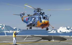 Картинка арт, художник, вертолет, США, helicopter, многоцелевой, Sikorsky, для, транспортный, военного, назначения, Японии, предназначен, десанта, службе, ...