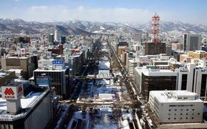 Обои улица, снег, горы, зима, здания, Япония