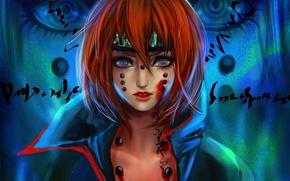 Картинка взгляд, девушка, надписи, кровь, арт, рыжая, naruto, pain, rikamello