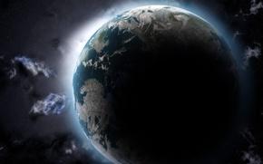 Обои Космос, Звезды, Земля, Облака, Тень
