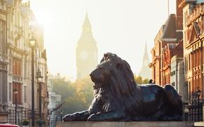 Обои свет, город, улица, Лондон, лев, биг бэн