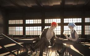 Картинка аниме, арт, класс, парни, двое, Ansatsu Kyoushitsu, Нагиса, Akabane Karma