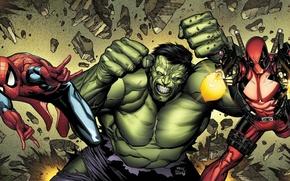 Картинка Халк, Hulk, Deadpool, Marvel, Дэдпул, Человек-паук, Spider-Man, Peter Parker, Питер Паркер, Wade Wilson, Марвел, Уэйд ...