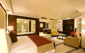 Обои стол, комната, обои, кровать, интерьер, номер, телевизор, ванна, wallpaper, люкс