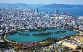 Картинка море, озеро, побережье, дома, Япония, панорама, мегаполис, вид сверху, Fukuoka