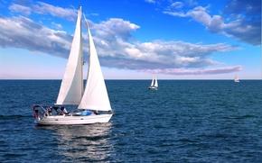 Картинка море, лодки, паруса