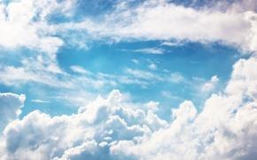 Картинка белый, небо, облака, голубой