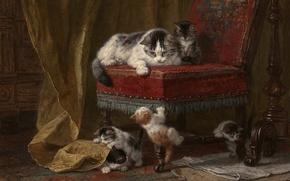 Обои кошка, краски, картина, кресло, котята, малыши, играют, kitten, cat, art, chair, painting, five