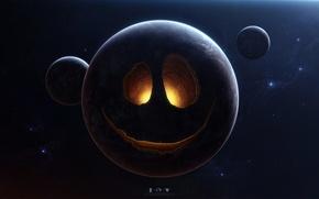 Картинка космос, сияние, звёзды, Планеты, смайл, недра